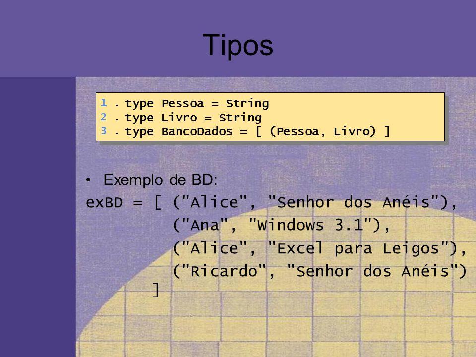 Tipos Exemplo de BD: exBD = [ ( Alice , Senhor dos Anéis ),